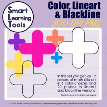 Math Symbols & Tools COMBO Clip Art Set - Bright Colors Edition