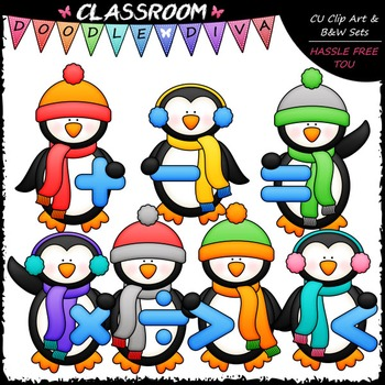Math Symbols Winter Penguins Clip Art & B&W Set