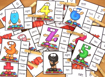 Math Symbols and Number Words Clip Cards Center