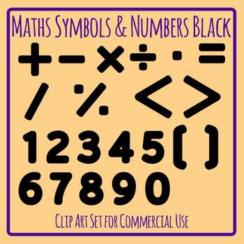 Math Symbols and Numbers Plus, Minus Etc Black Clip Art Set Commercial Use