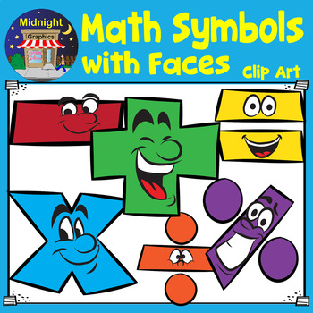 Math Symbols with Faces Clip Art