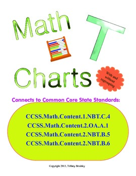 Math T Charts for Addition & Subtraction w/ Place Values &