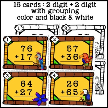 Math TASK CARDS {Addition} 2-digit + 2-digit With and Without Regrouping