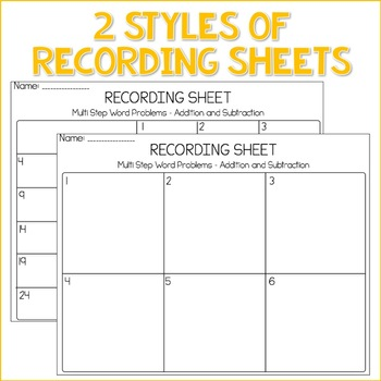 Math TASK CARDS {Multi-Step Word Problems} Addition & Subtraction