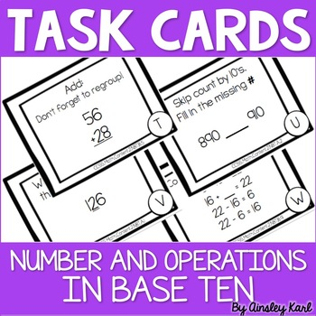 Math TASK CARDS {Number and Operations in Base Ten} CCSS