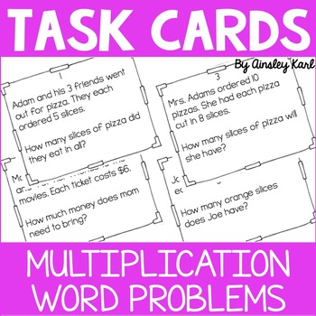 Math TASK CARDS {Multiplication} Word Problems + Homework!