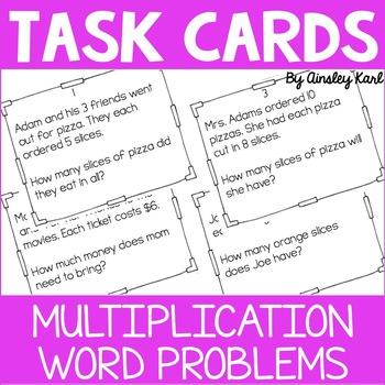 Math TASK CARDS {Multiplication} Word Problems + Homework!