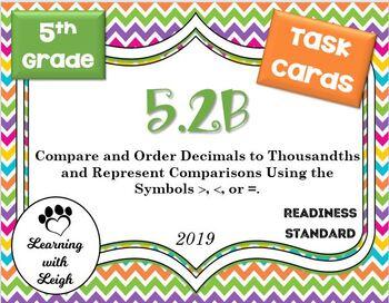 Math TEK 5.2B Compare and Order Decimals