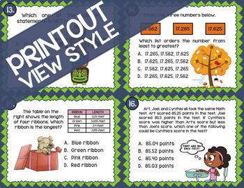 Math TEK 5.2B ★ Comparing Decimals ★ 5th Grade STAAR Math Review Task Cards