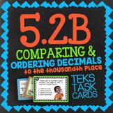Math TEK 5.2B ★ Comparing Decimals ★ 5th Grade STAAR Math Test Prep Task Cards