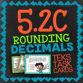 Math TEK 5.2C ★ Rounding Decimals ★ 5th Grade STAAR Math Review Task Cards