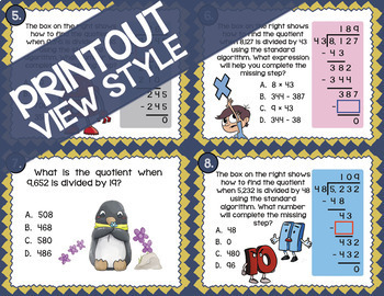 Math TEK 5.3C ★ Long Division with Two-Digit Divisors ★ 5th Grade Task Cards