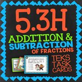 Math TEK 5.3H ★ Add & Subtract Unlike Fractions★ 5th Grade STAAR Math Task Cards