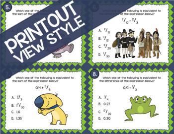 Math TEK 5.3K: Add & Subtract Rational Numbers ★ 5th Grade STAAR Math Task Cards