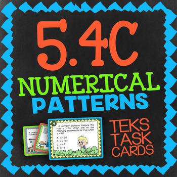 Math TEK 5.4C ★ Numerical Patterns ★ 5th Grade STAAR Math Task Cards ★ Review