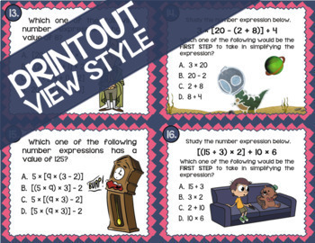Math TEK 5.4F ★ Simplifying Expressions ★ 5th Grade Task Cards