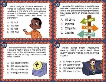 Math TEK 5.7A ★ Measurement & Conversions ★ 5th Grade Task Cards