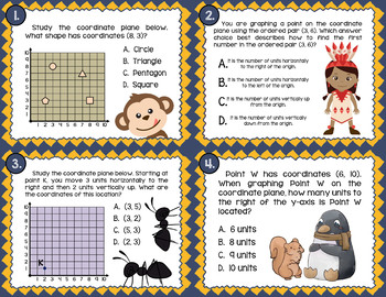 Math TEK 5.8B ★ Graphing Ordered Pairs ★ 5th Grade Task Cards
