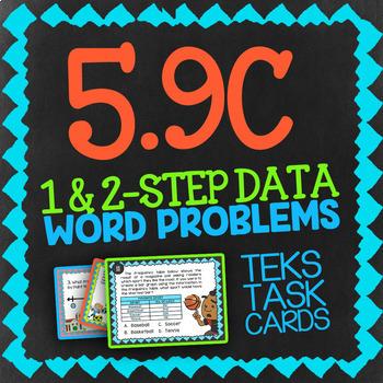 Math TEK 5.9C ★ 1 & 2-Step Data Word Problems ★ 5th Grade Task Cards