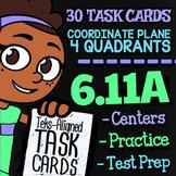 Math TEK 6.11A ★ Coordinate Plane, 4 Quadrant Graphing Task Cards ★ 6th Grade