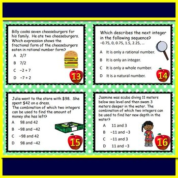 Math TEK 7.2A Rational Numbers 7th Grade STAAR Math Test Prep Task Cards