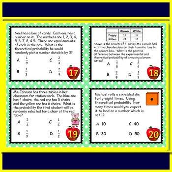 Math TEK 7.6I Calculating Probabilities 7th Grade STAAR Math Test Prep Task Card