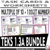 Math TEKS 1.3A BUNDLE Texas 1st Grade Task Cards and Worksheets