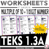 Math TEKS 1.3A Worksheets Texas Combine a Multiple of 10 a