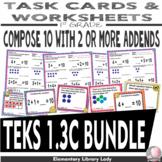 Math TEKS 1.3C BUNDLE Texas 1st Grade Task Cards and Worksheets