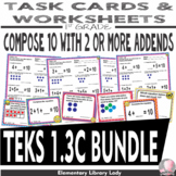 Math TEKS 1.3C BUNDLE Texas 1st Grade Task Cards and Worksheets