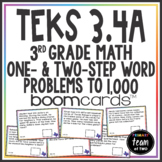 Math TEKS 3.4A Texas 3rd Grade Boom Cards™ Word Problems to 1,000
