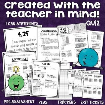 Math TEKS 4.2F - Comparing & Ordering Decimals- tenths & hundredths