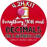 Math TEKS 4.2H - Fractions and Decimals on a Number Line - tenths & hundredths