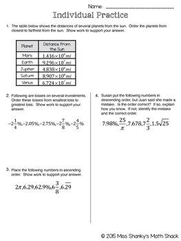 Math TEKS 8.2D Ordering Real Numbers Bundle