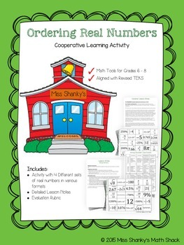 Math TEKS 8.2D Ordering Real Numbers Group Activity