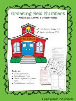 Math TEKS 8.2D Ordering Real Numbers Whole Class Activity
