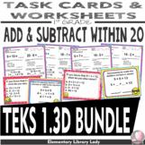 Math TEKS 1.3D BUNDLE Texas 1st Grade Task Cards and Worksheets