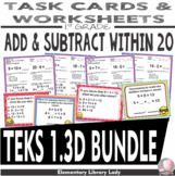 Math TEKS 1.3D BUNDLE Texas 1st Grade Task Cards and Worksheets
