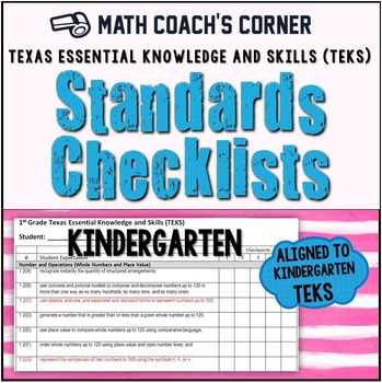 Math TEKS Checklists, Kindergarten