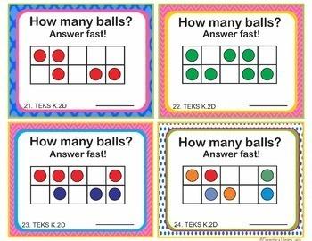Math TEKS K.2D Texas Kindergarten Task Cards Instant Recognition Small Amounts
