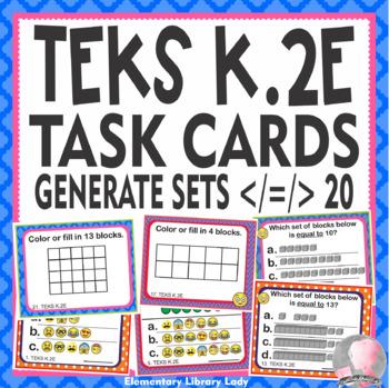 Math TEKS K.2E Texas Kindergarten Task Cards Generate a Set >, < , = up to 20