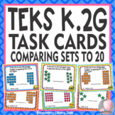 Math TEKS K.2G Texas Kindergarten Task Cards Comparing Set