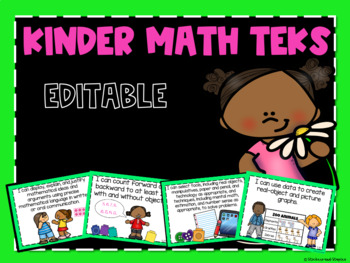 Math TEKS Posters for Kindergarten