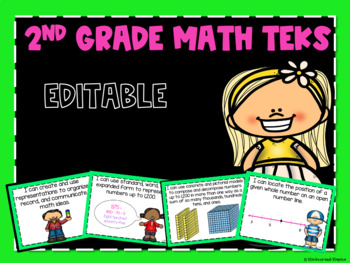 Math TEKS *EDITABLE* Posters for Second Grade