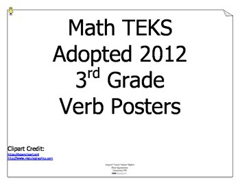 Math TEKS Verbs for 3rd Grade
