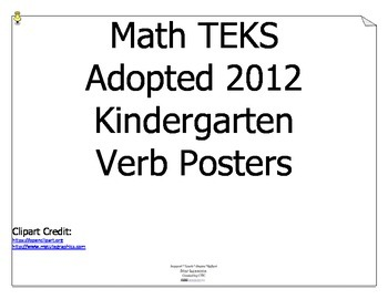 Math TEKS Verbs for Kindergarten