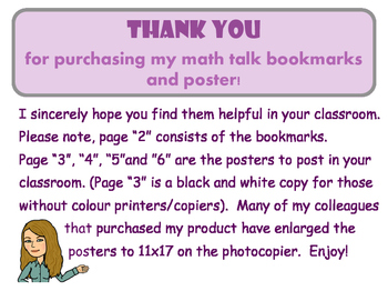 Math Talk Bookmarks and Class Poster