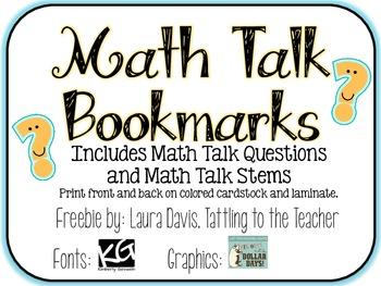 Math Talk Bookmarks {freebie}