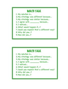 Math Talk Card for Math Notebooks