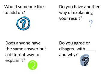 Math Talk Classroom Question Card Set